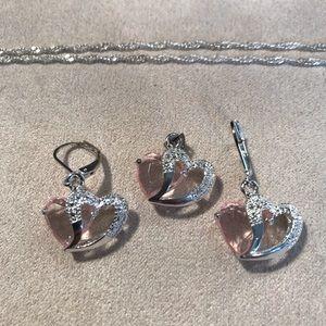 Jewelry - Pink Sapphire Hearts w/Earrings & Pendant Set.